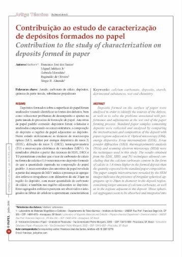 Artigo técnico - Contribuição ao estudo de ... - Revista O Papel
