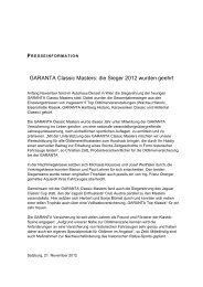 GARANTA Classic Masters: die Sieger 2012 wurden geehrt