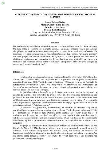 O ELEMENTO QUÍMICO: O QUE PENSAM OS ... - Axpfep1.if.usp.br