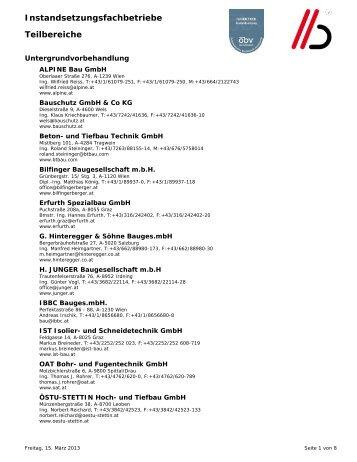 Instandsetzungsfachbetriebe Teilbereiche