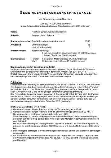 2013-06-17 Gemeindeversammlungsprotokoll - Auflage - Unterseen
