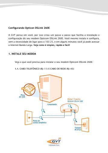 Configurando Opticon DSLink 260E 1. INSTALE SEU MODEM - GVT