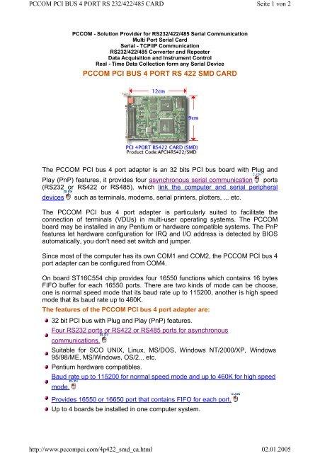 DECISION PCCOM PCI 4 PORT DRIVERS