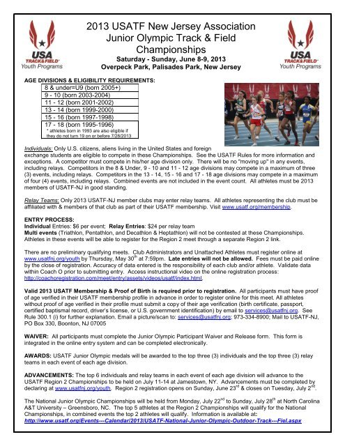 2013 USATF New Jersey Association Junior Olympic Track     - usatf-nj