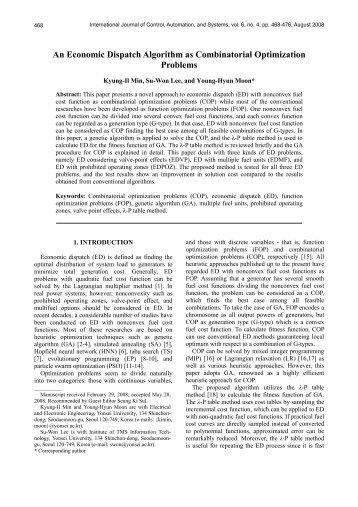An Economic Dispatch Algorithm as Combinatorial ... - IJCAS
