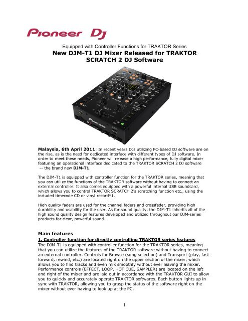 New DJM-T1 DJ Mixer Released for TRAKTOR     - Pioneer Malaysia