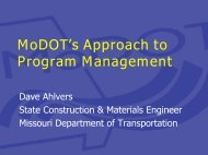 MoDOT's Approach to Program Management