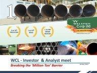 WCL - Investor & Analyst meet - Welspun Corp Ltd.