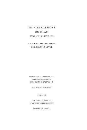 thirteen lessons on islam for christians - Political Islam