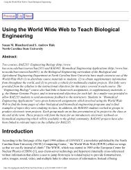 Using the World Wide Web to Teach Biological Engineering
