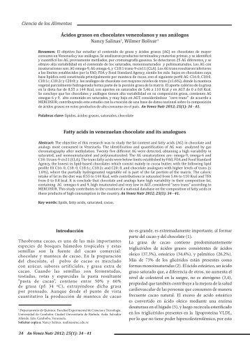 Ciencia de los Alimentos Ácidos grasos en chocolates venezolanos ...