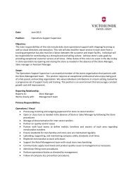Operations Support Supervisor Objective - Victorinox
