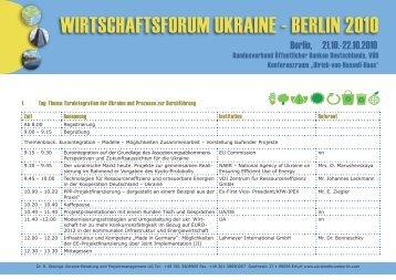 WIRTSCHAFTSFORUM UKRAINE - BERLIN 2010 - PPP-INSTITUT eV