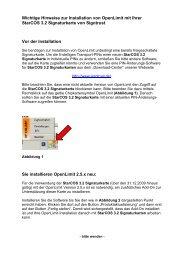 Wichtige Hinweise zur Installation von Openlimit mit Ihrer Starcos ...