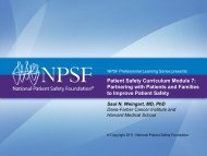 Patient Safety Curriculum Module 7: Partnering with Patients and ...