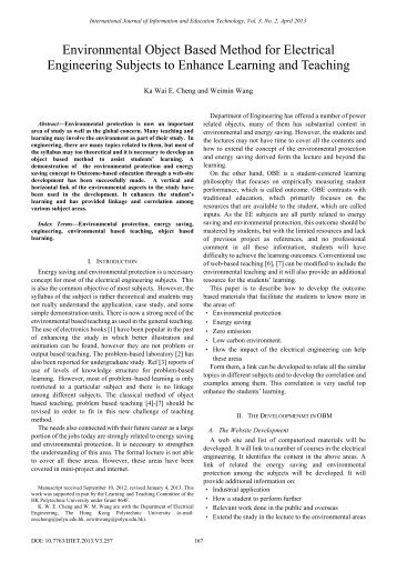 Environmental Object Based Method for Electrical Engineering ... - ijiet