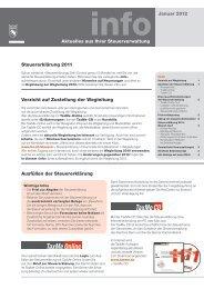 info - Aktuelles aus Ihrer Steuerverwaltung, Januar 2012