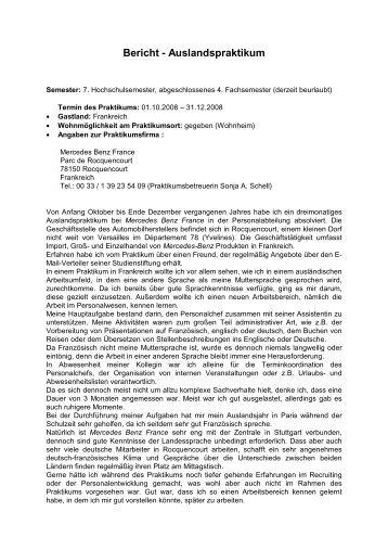 Bericht - Auslandspraktikum