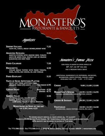 Download Dinner Menu (PDF file) - Monastero's - Ristorante ...
