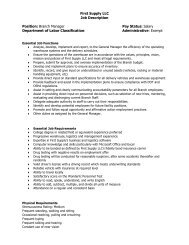 First Supply LLC Job Description Position: Branch Manager Pay ...