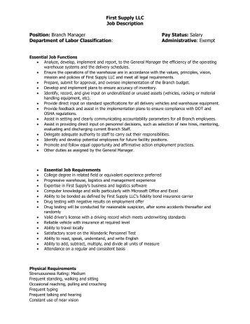 branch manager job description
