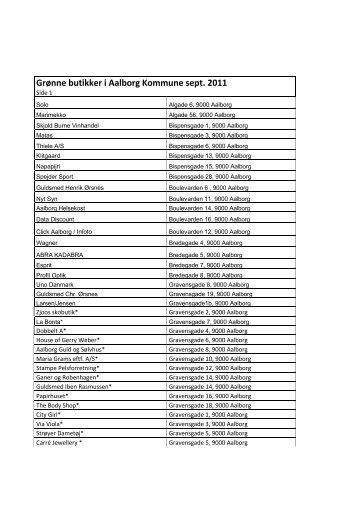 Liste over grønne butikker i Aalborg, september 2011
