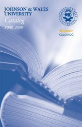 2008–2009 Academic Calendar - Johnson & Wales University