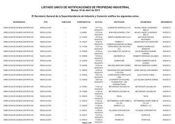 listado unico de notificaciones de propiedad industrial