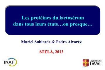 Les protéines du lactosérum: des substrats de choix pour la ...