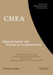 CHEA 2011 Summer Workshop Preliminary Program - Council for ...