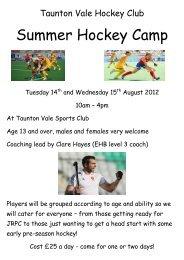 Summer Hockey Camp - Zing Somerset