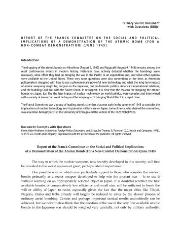 Report of the Franck Committee on the Social and Political ...