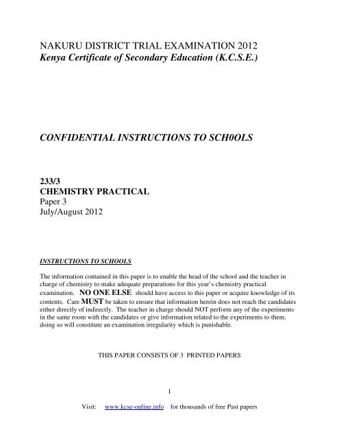 2012 nakuru district mock chemistry confidential pdf - KCSE