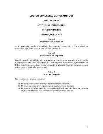 Código Comercial - Portal do Governo de Moçambique