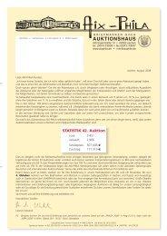 STATISTIK 42. Auktion - Aix-Phila Briefmarken GmbH