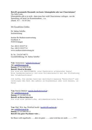 Hassmails - Institut für Medienverantwortung