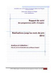 Rapport de suivi des programmes actifs d'emploi ( juin 2012)