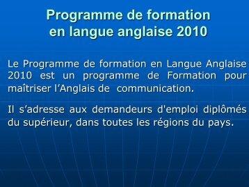 Présentation du programme de formation en langue anglaise 2010