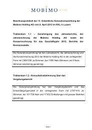 Beschlussprotokoll der ordentlichen Generalversammlung 2013