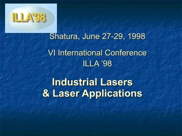 Industrial Lasers & Laser Applications