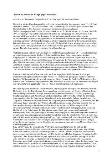"""Vereint im weltweiten Kampf gegen Rassismus! Bericht vom """"Forum ..."""
