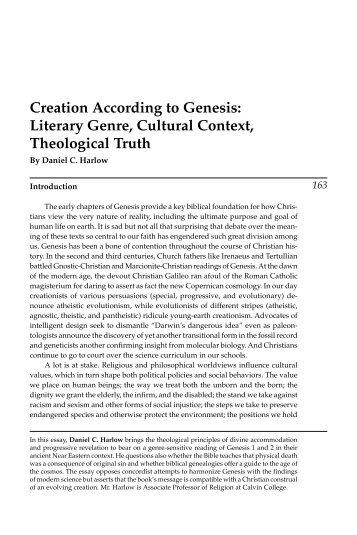 Creation According to Genesis: Literary Genre ... - Calvin College
