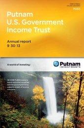 U.S. Government Income Trust Annual Report - Putnam Investments