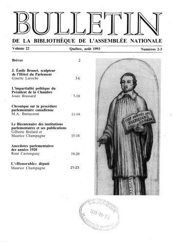 Vol. 22, nos 2-3, août - Bibliothèque - Assemblée nationale du Québec