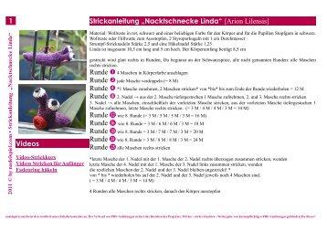 """1 Strickanleitung """"Nacktschnecke Linda"""" (Arion Lilensis ... - Nadelspiel"""