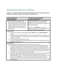 Biology EOC Study Guide: Part 2, Cell Biology Content Standards ...