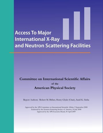 Access To Major International X-Ray & Neutron Facilities - American ...