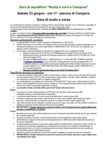 """Gara di aquathlon """"Nuota e corri a Campora"""" Sabato 23 ... - CSI Parma"""