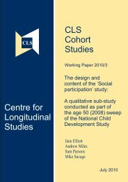 The design and content of the 'Social participation' study - Centre for ...