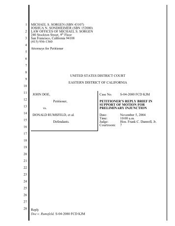 Petitioner's Reply Brief in Support of Motion for Preliminary Injunction